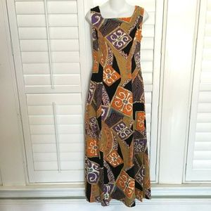 Vintage Tori Richard Medallion Hawaiian Maxi Dress